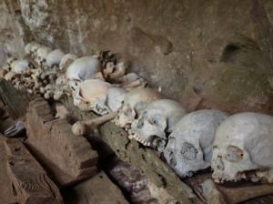huesos y calaveras son cuidados por la gente del pueblo