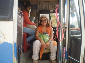 in the bus from the border Vietnam/ Laos to Savanakeht, I travel sitting in the stealed stall of the co-driver