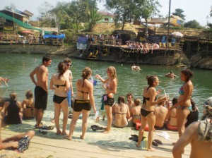 one of the stops in the tubing in Vang Vieng